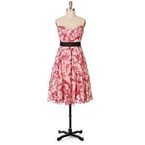 Anthro Maeve Savoy Flora pink floral dress